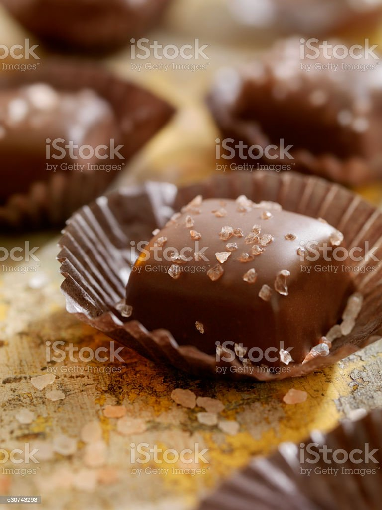 Sea Salt Caramel Chocolates stock photo