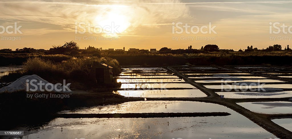 Sea salt extraction stock photo