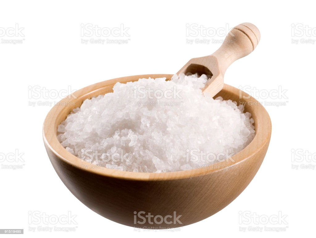 Sea salt in a  bowl stock photo