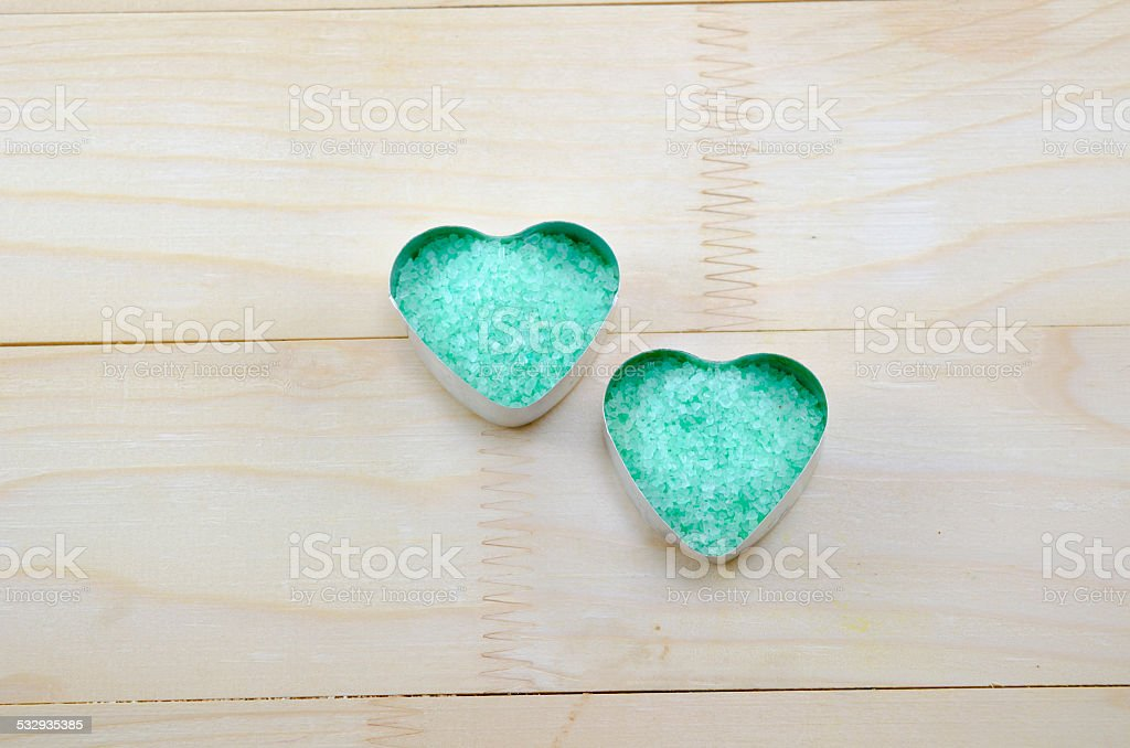 Sea salt in a heart shaped box royalty-free stock photo
