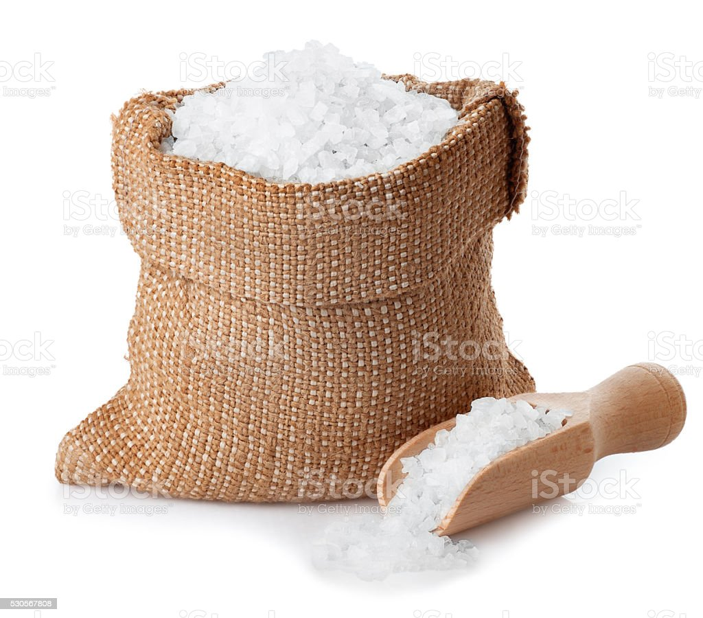 Sea salt in bag isolated on white stock photo