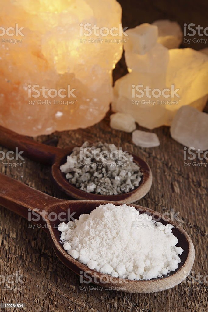 Sea salt in spoon royalty-free stock photo