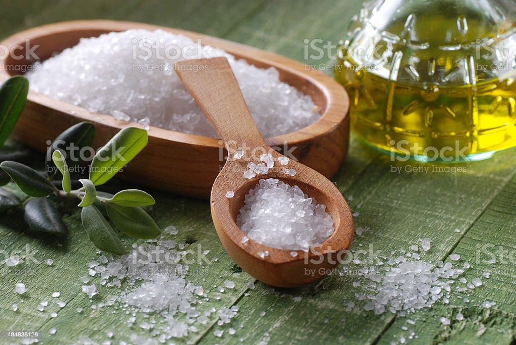 sea salt in the spoon stock photo