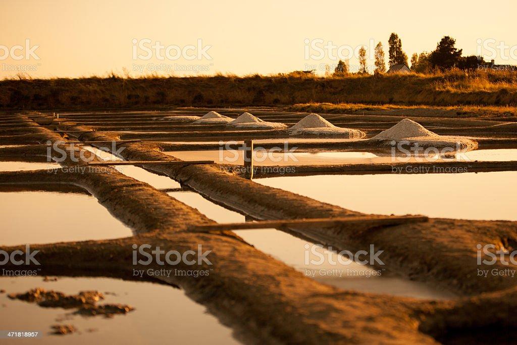 sea salt pans sunset stock photo