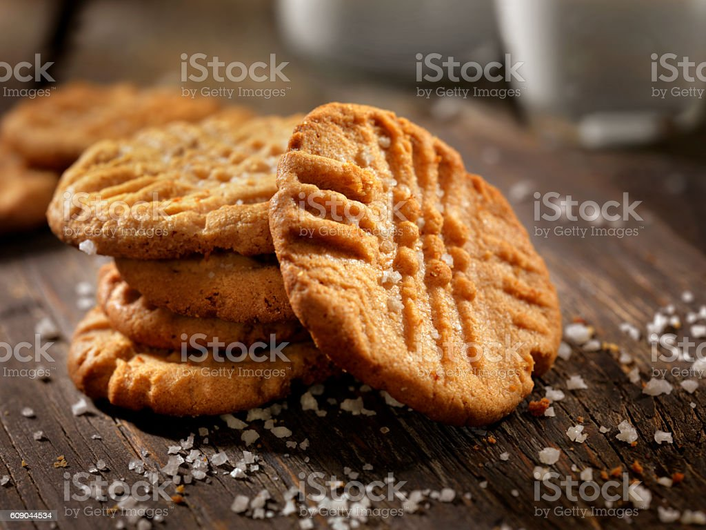 Sea Salt Peanut Butter Cookies with Milk stock photo