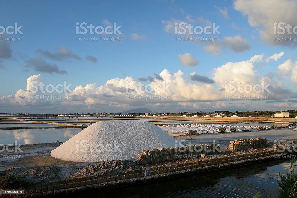 Sea Salt production in Sicily royalty-free stock photo