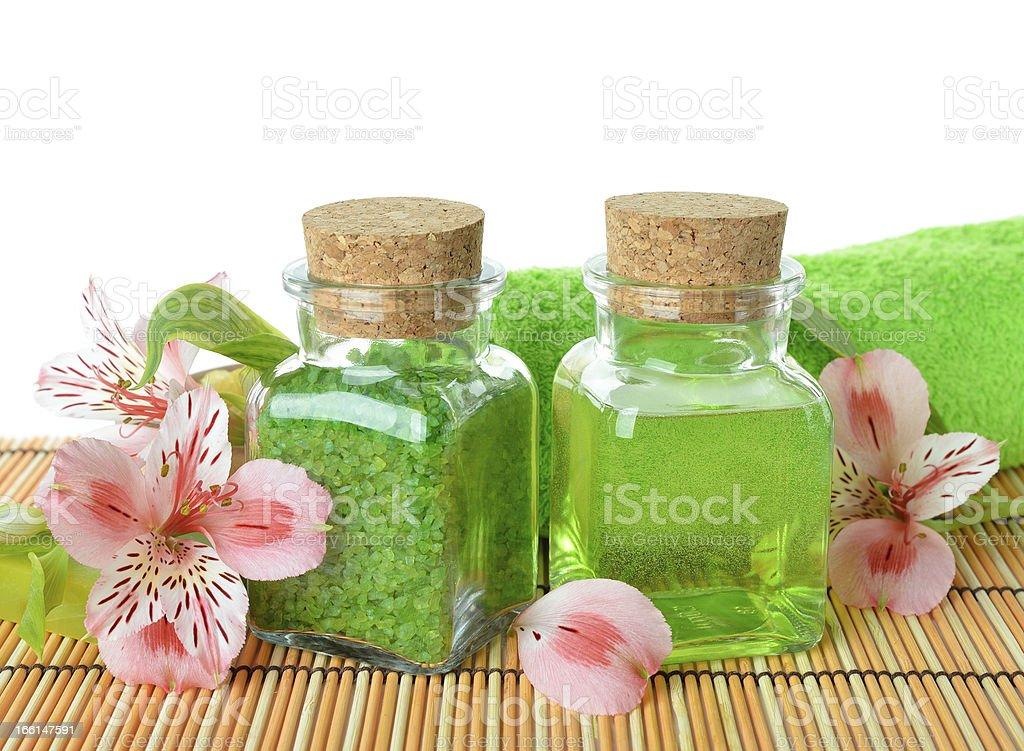 Sea salt, soap and flowers stock photo
