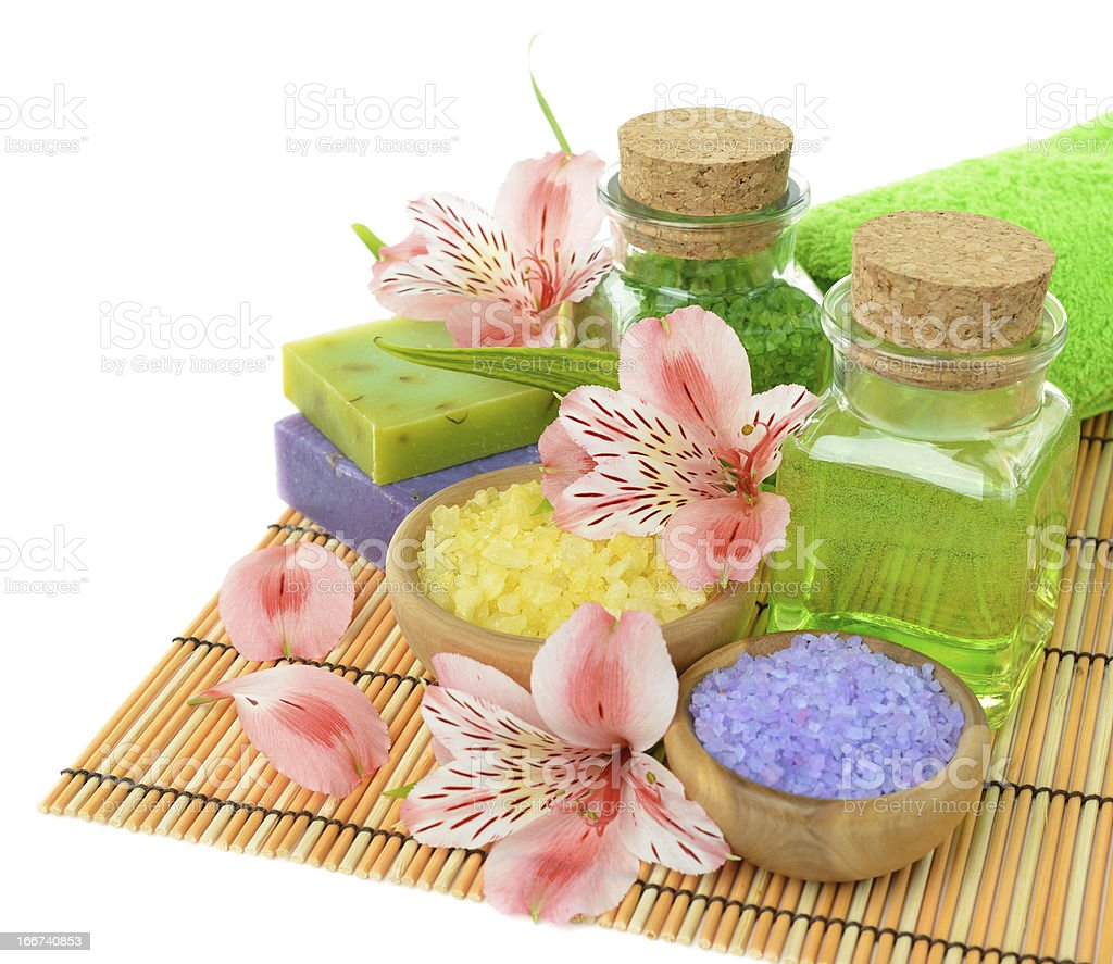 Sea salt, soap and flowers royalty-free stock photo