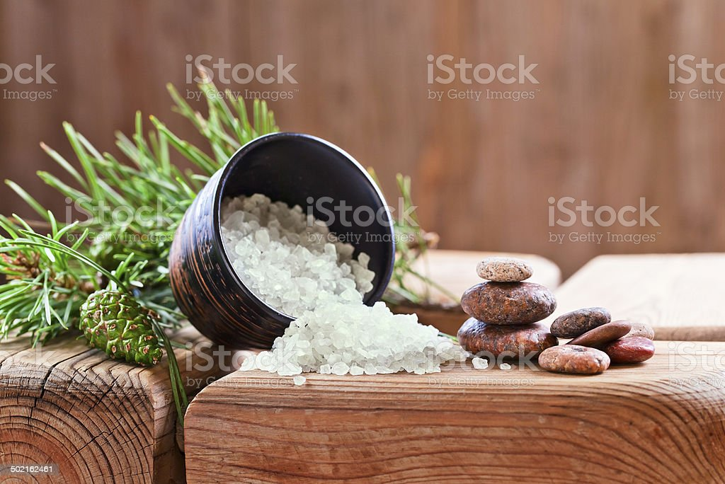 Sea salt with coniferous aroma stock photo