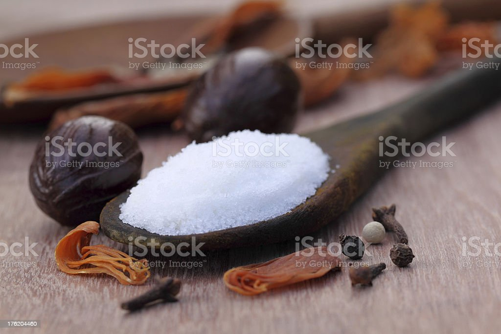 Sea salt with Indian spices stock photo