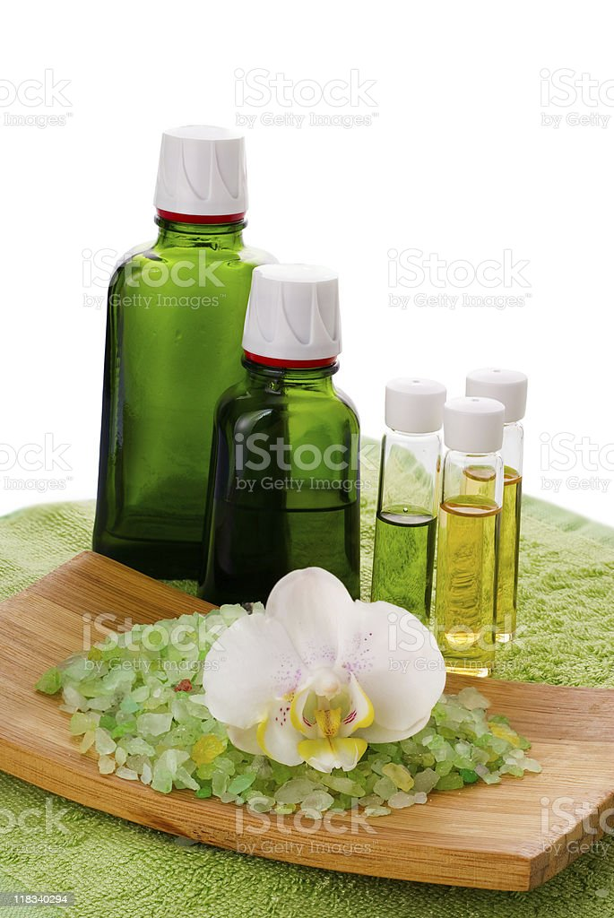 Sea salt with orchid and organic oil stock photo