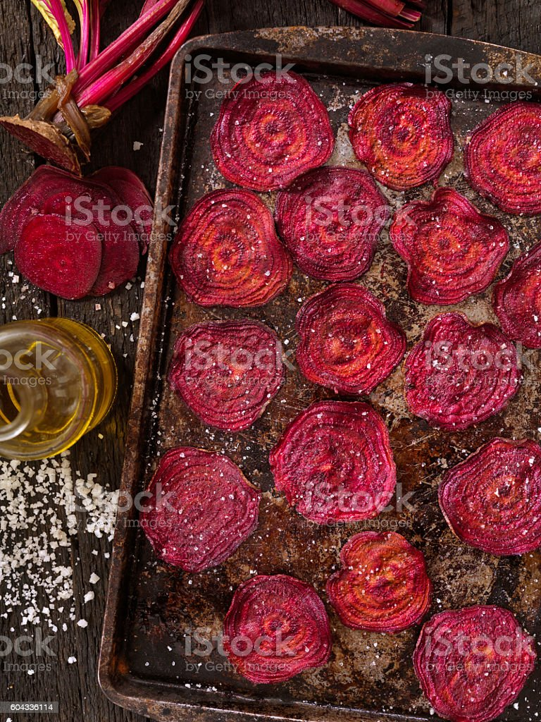 Sea Salted Beet Chips stock photo