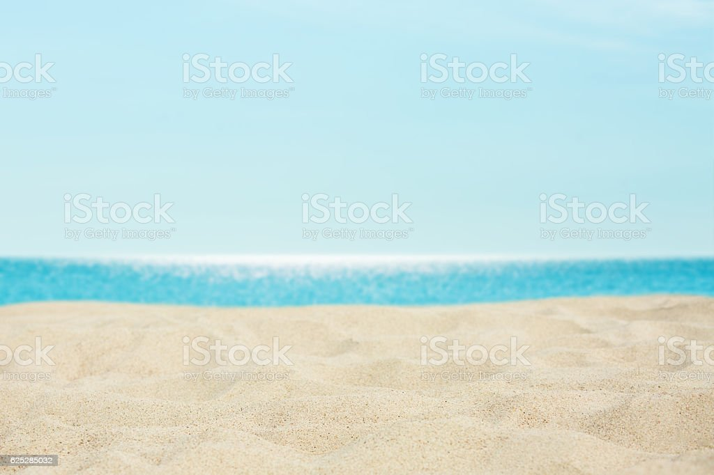 Sea, sand and blue sky background. On the beach stock photo