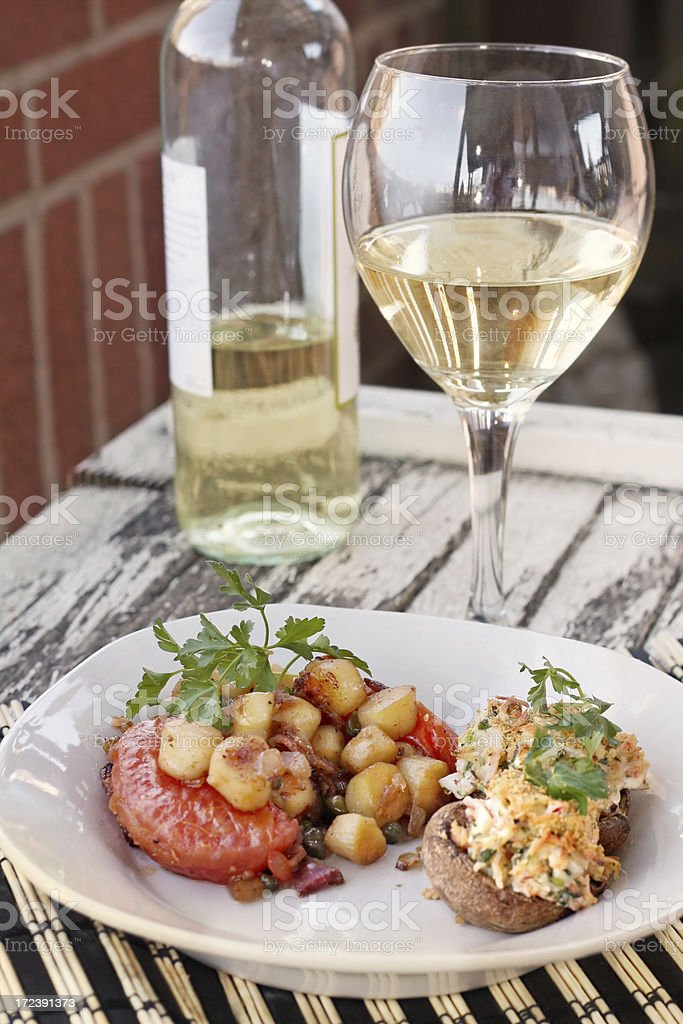 Sea Scallops and Stuffed Mushrooms Dinner royalty-free stock photo