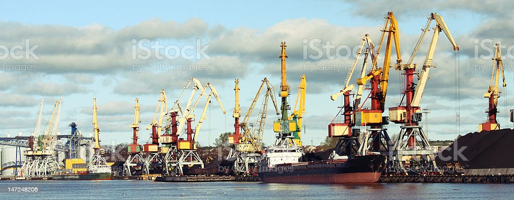 Sea ship loading coal in port royalty-free stock photo