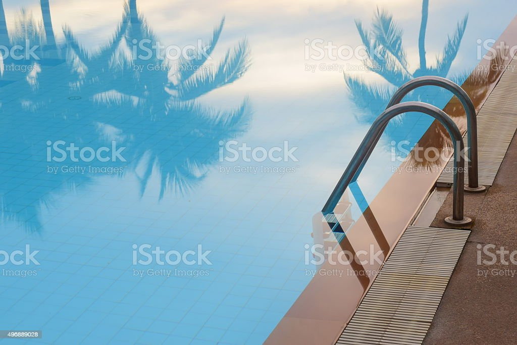 sea side resort pool stock photo