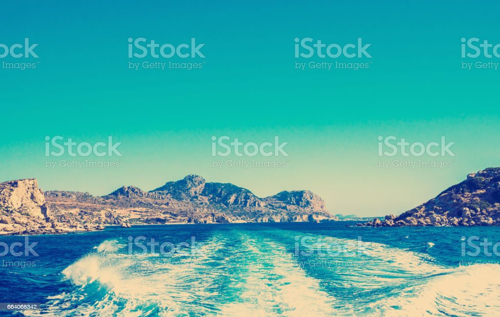sea sky and mountains stock photo