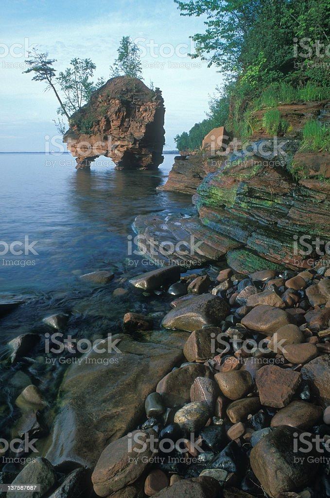 Sea Stack, Lake Superior stock photo