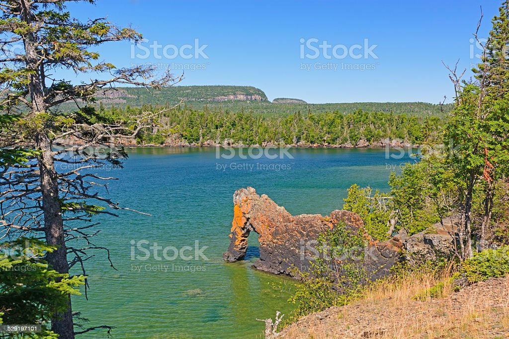 Sea Stack on a Sheltered Cove stock photo