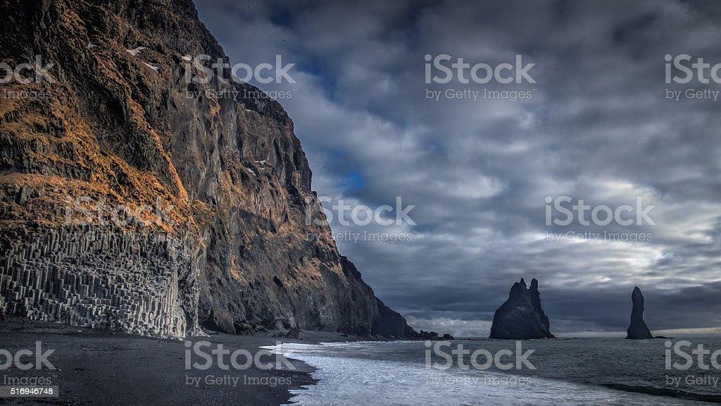 Sea Stacks at Vik Beach stock photo