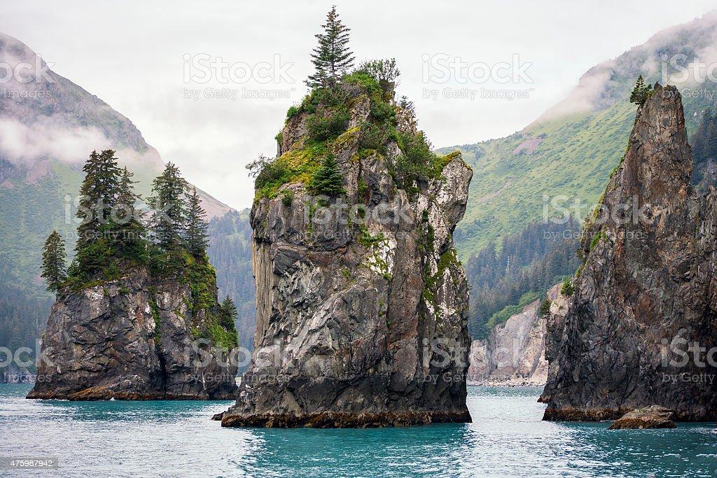 Sea Stacks, Kenai Fjords National Park stock photo