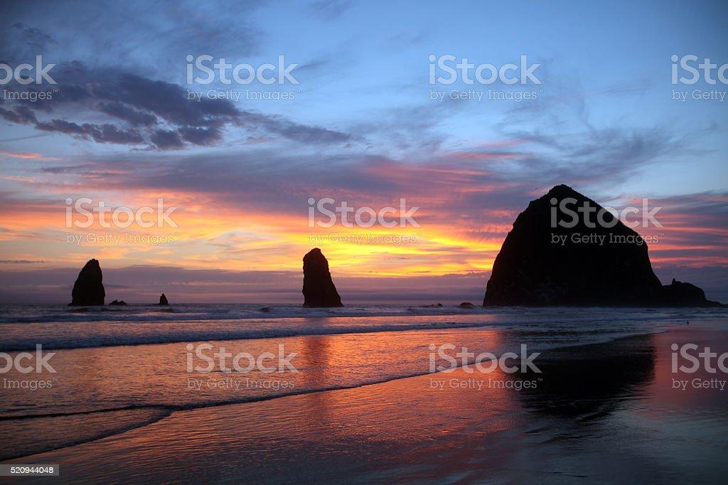 Sea stacks of Cannon Beach, north Oregon coastline stock photo