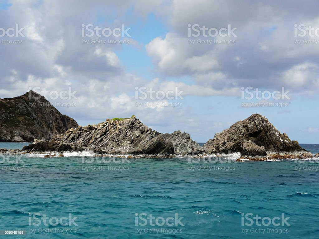 Sea Stacks Off the Coast of Saint Martin stock photo