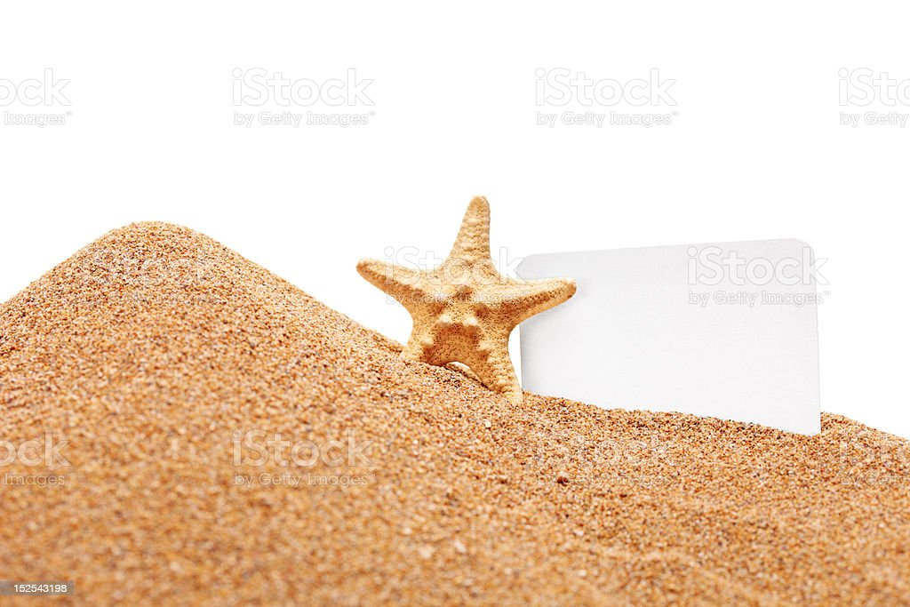 Sea star and a white blank card royalty-free stock photo