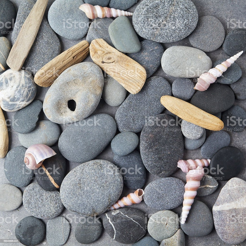Sea stones background. Flat lay. Top view stock photo