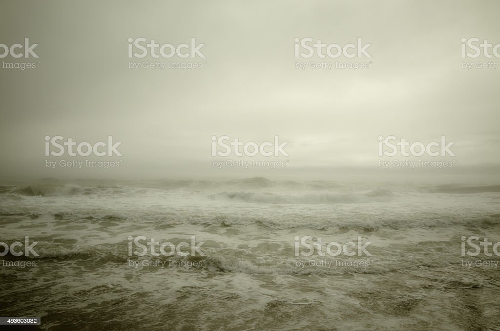 Sea storm mist stock photo