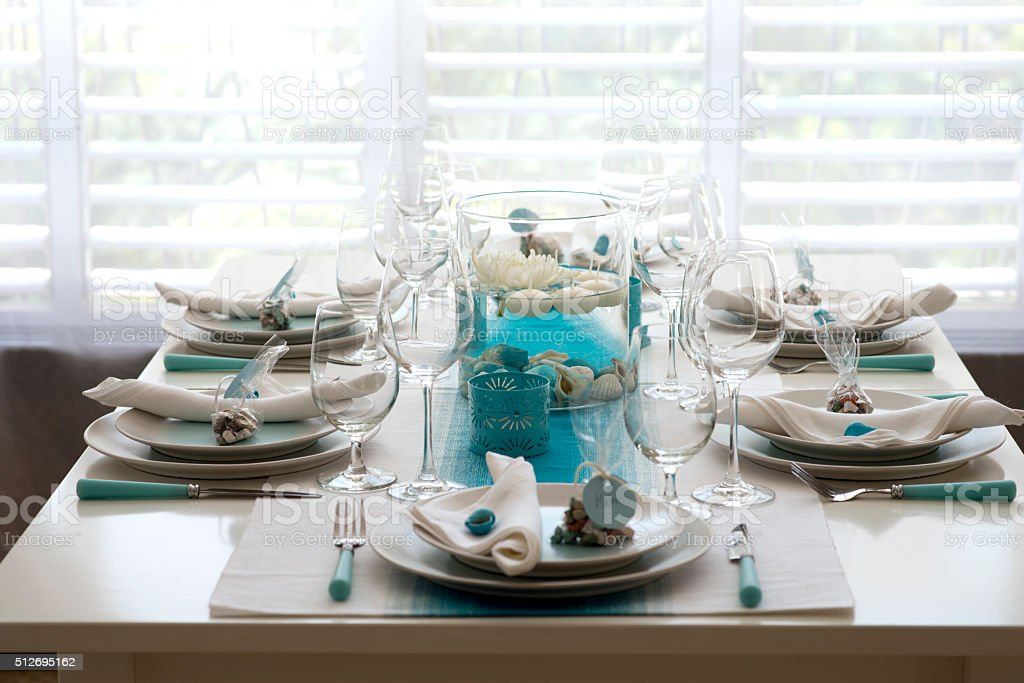 sea style table setting for dinner stock photo