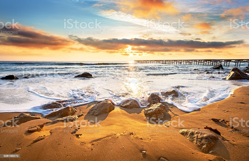 Sea sunrise. stock photo