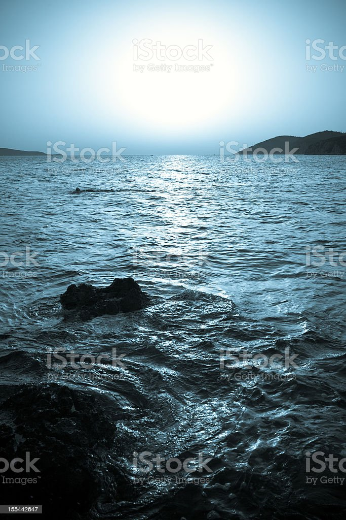 Sea sunset landscape stock photo