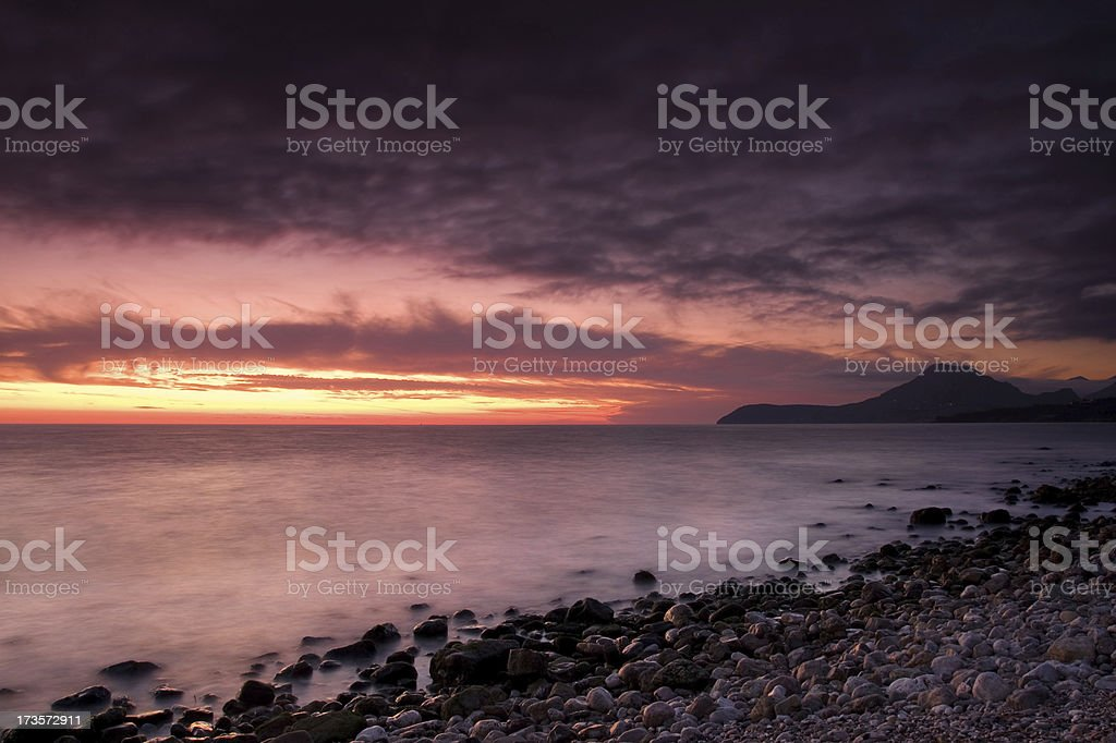 Sea sunset stock photo