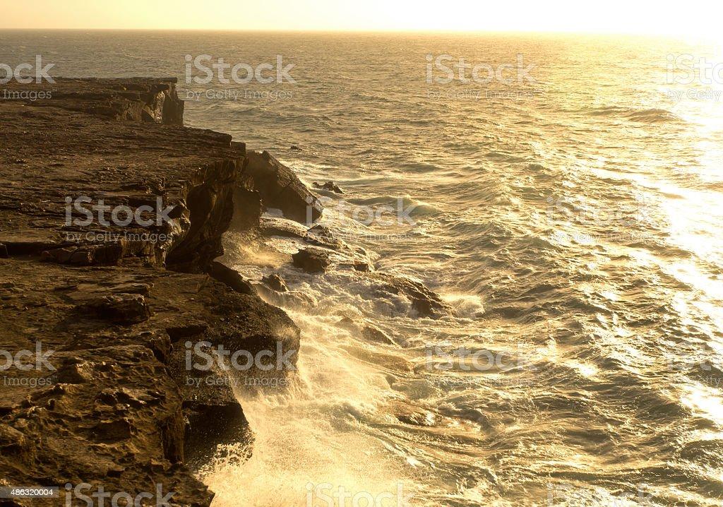 Sea surf on the rocks in area  La Pared stock photo