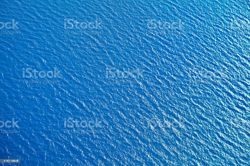 Sea surface, view from airplane stock photo