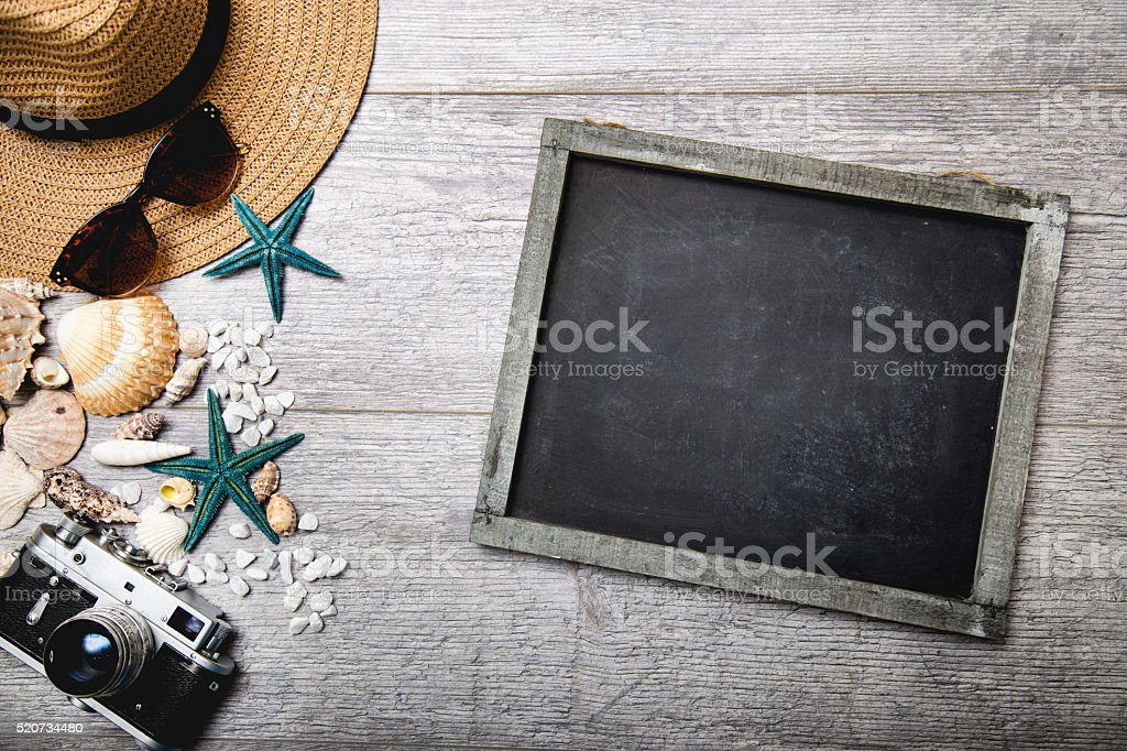 Sea time concept on wooden background stock photo