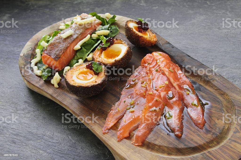 sea trout salmon platter stock photo