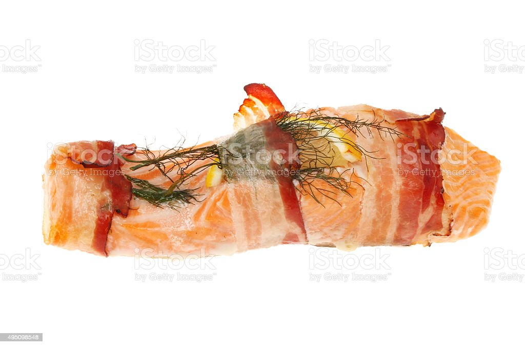 Sea trout with pancetta stock photo
