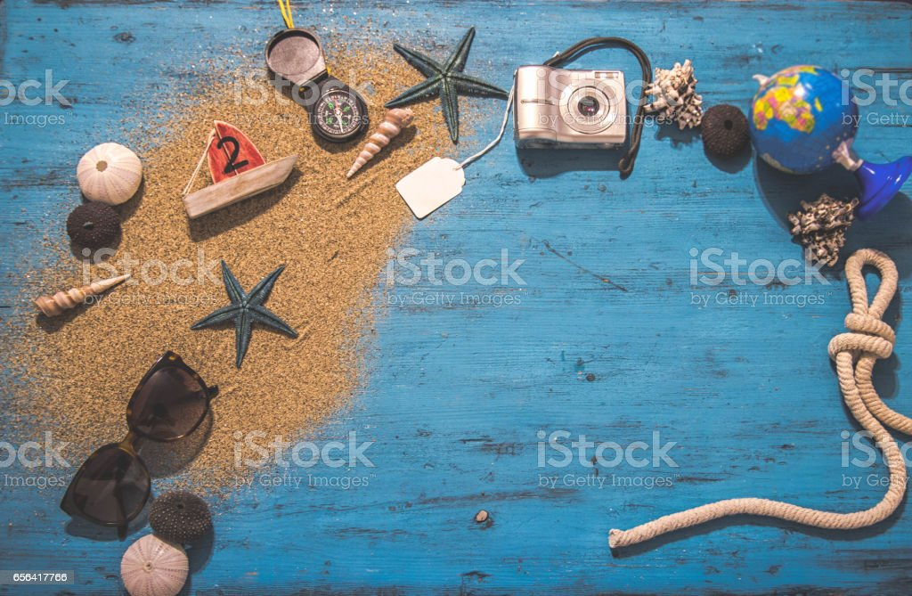 Sea urchins and starfish in a sand stock photo