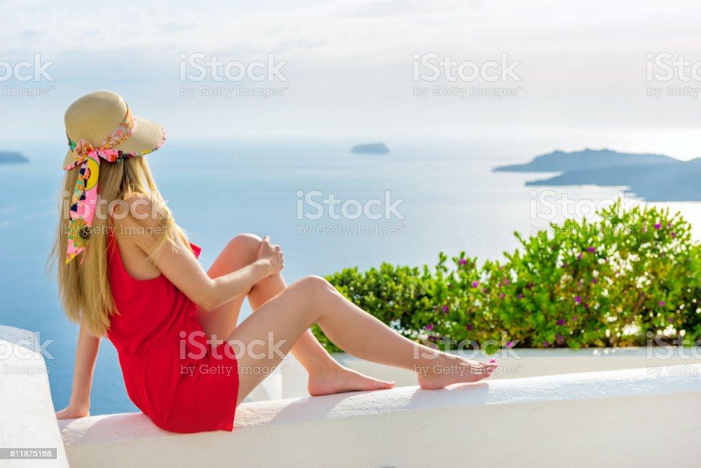 Sea view - Aegean islands & elegant woman stock photo
