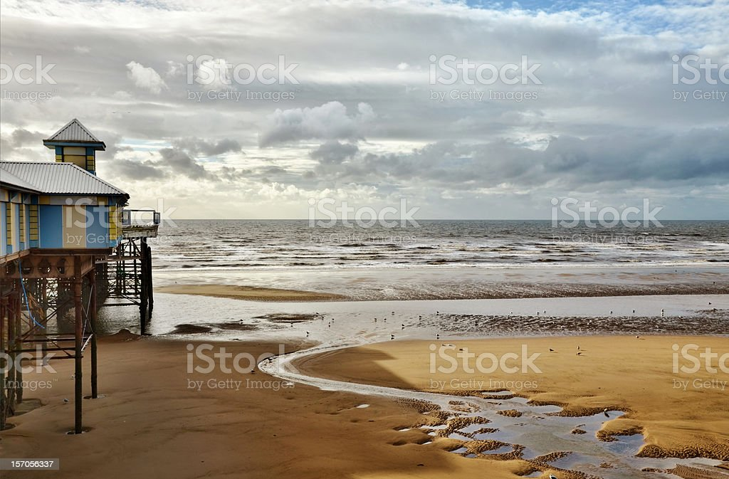 Sea view at Blackpool, with sandy beach and pier. royalty-free stock photo