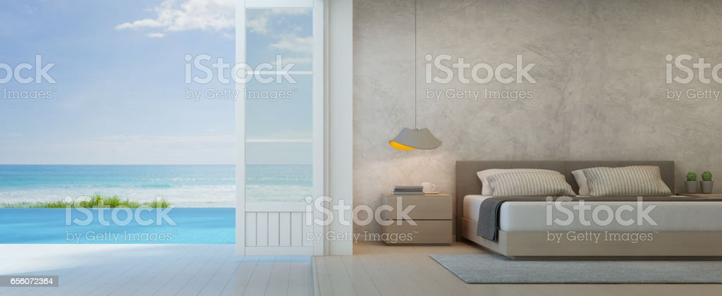 Sea view bedroom with terrace in luxury beach house, Modern interior of pool villa stock photo