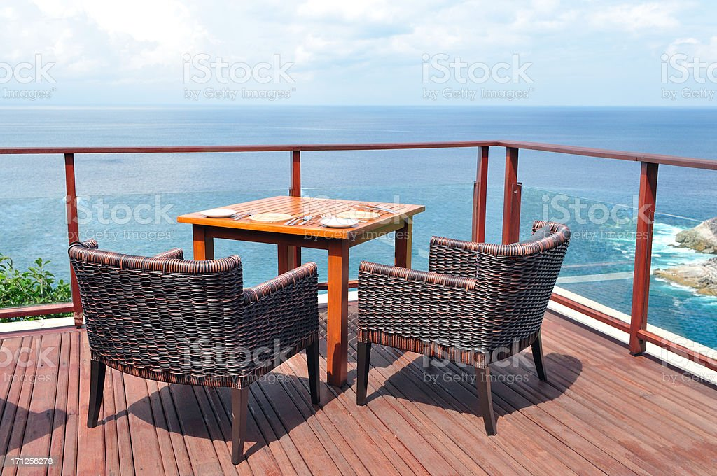Sea View Dining Table for couple royalty-free stock photo