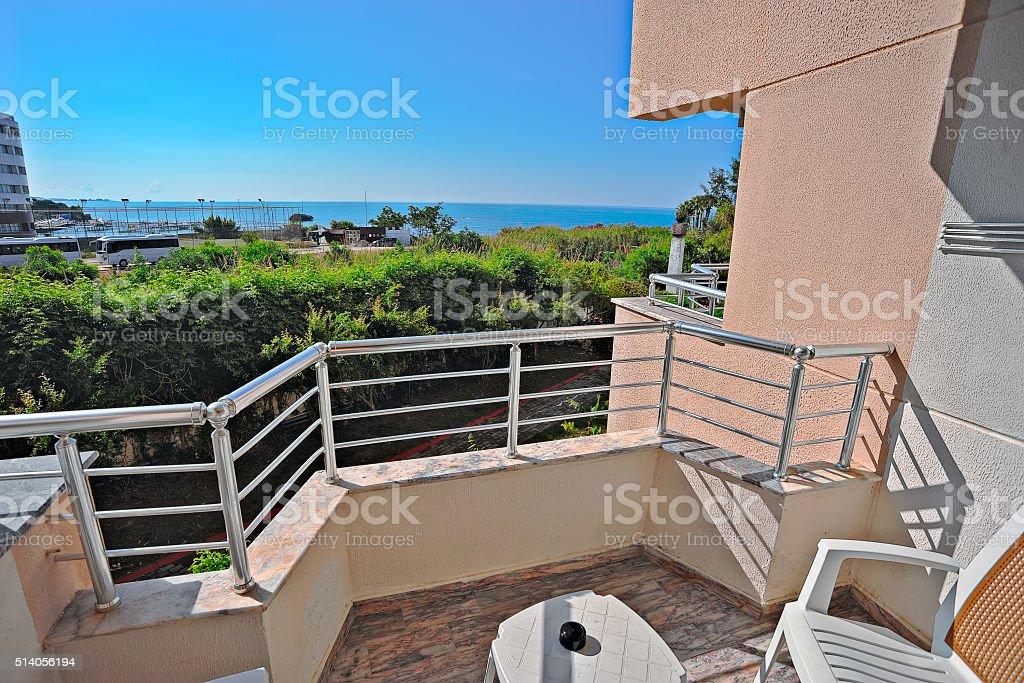 Sea view from a hotel room balcony stock photo