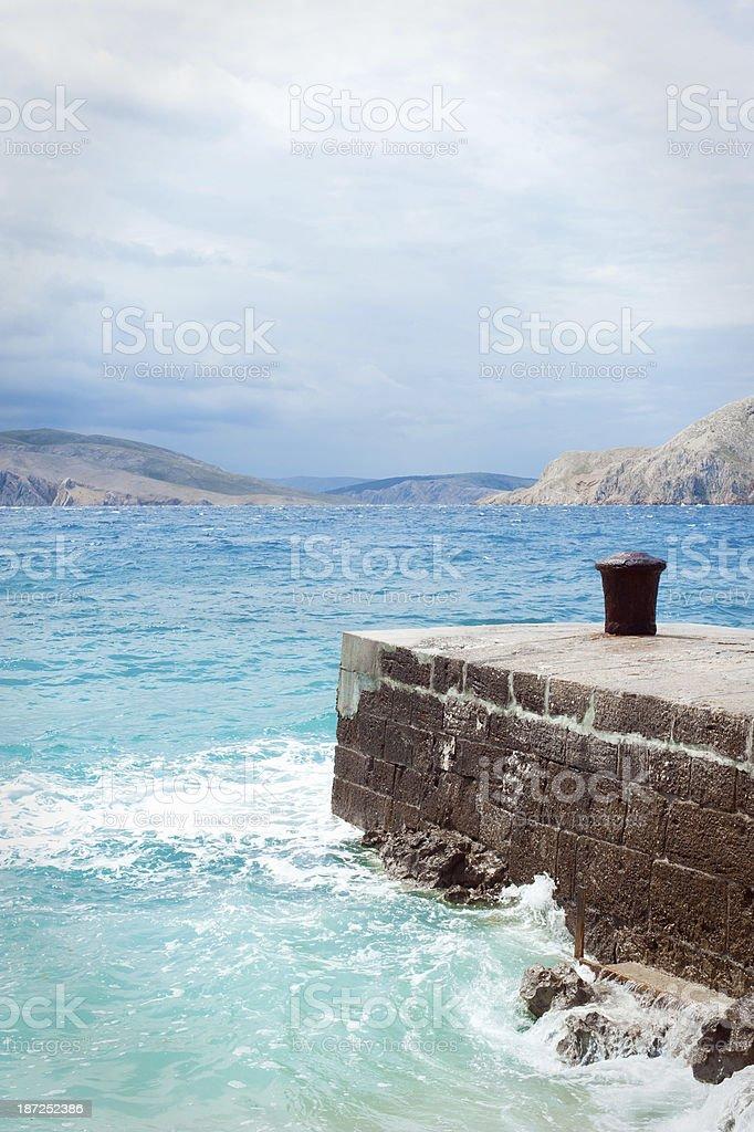 Sea view from Baska , island Krk in Croatia stock photo
