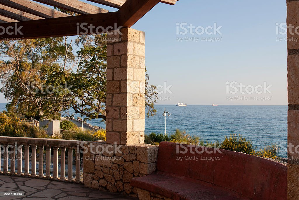 Sea view from the Terrace beach in Spain stock photo