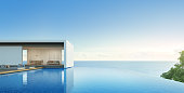 Sea view house with pool in modern design, Luxury villa