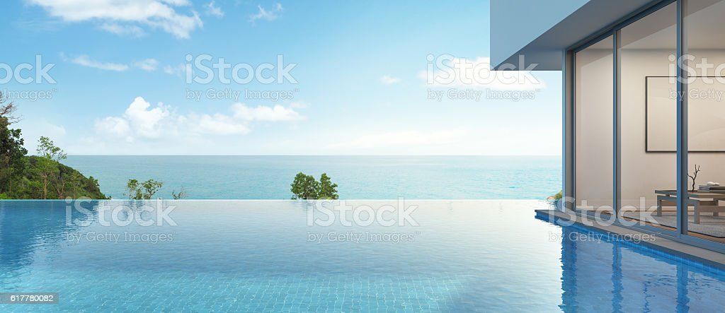 sea view house with pool in modern design stock photo