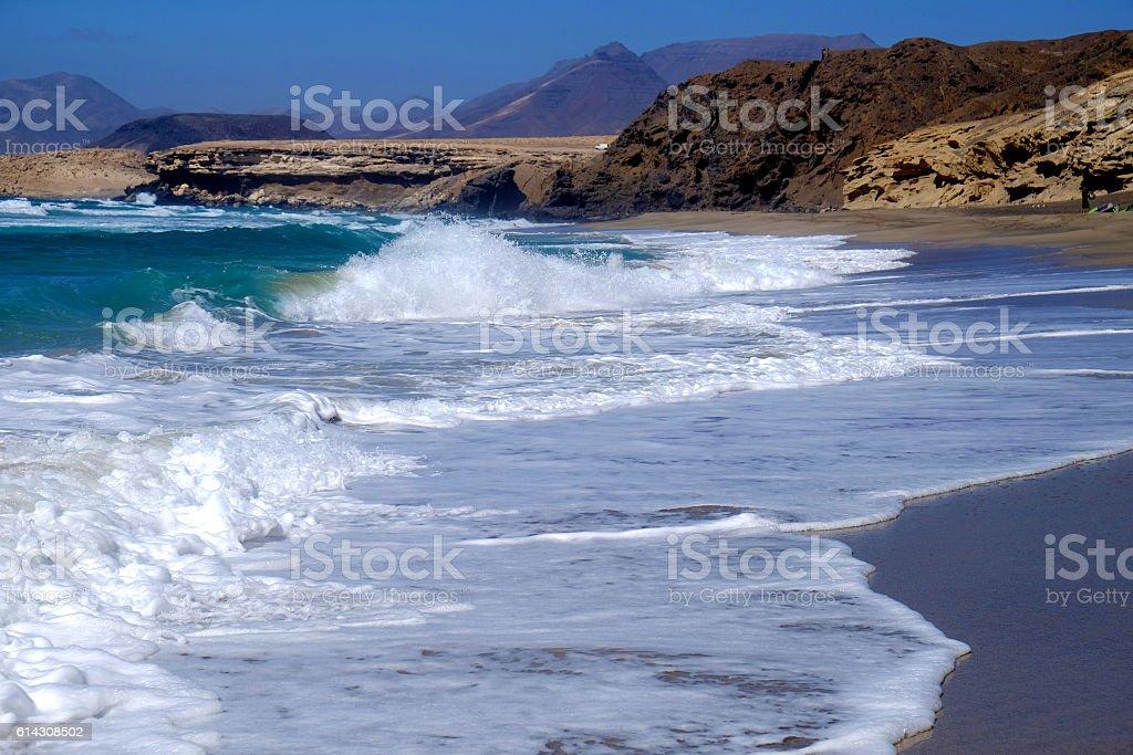 Sea view in La Pareda beach, Fuerteventura, Spain. stock photo
